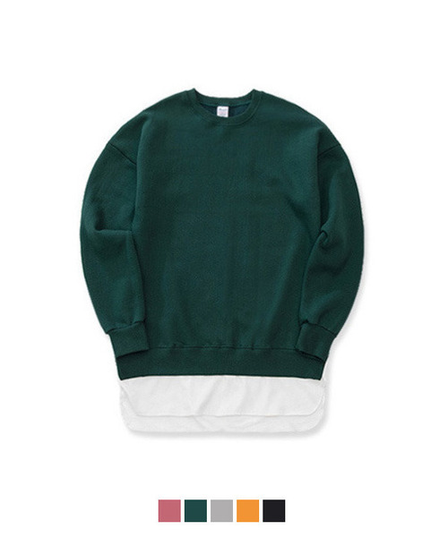 [650g 기모] Over Fit Layered Sweat Shirt
