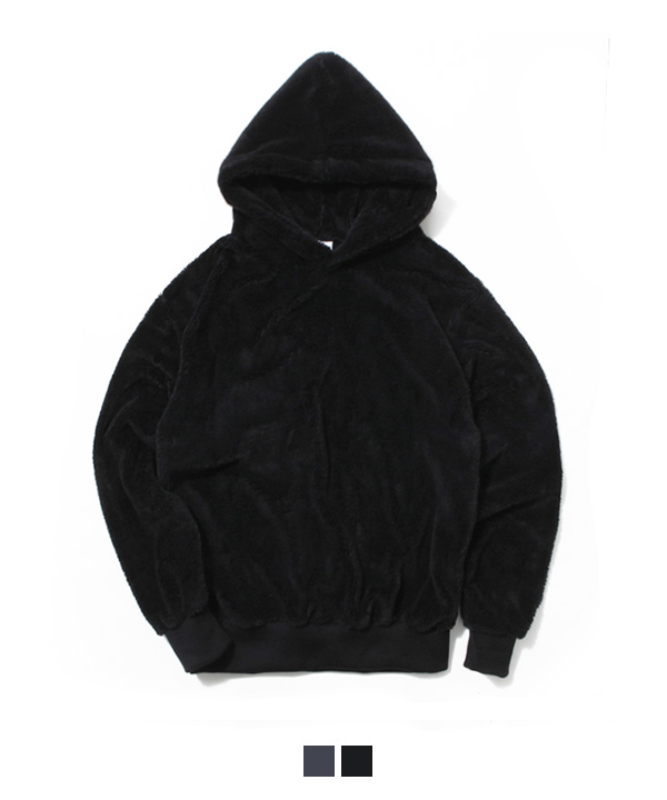 Pile Lined Series Hood T-Shirt Black
