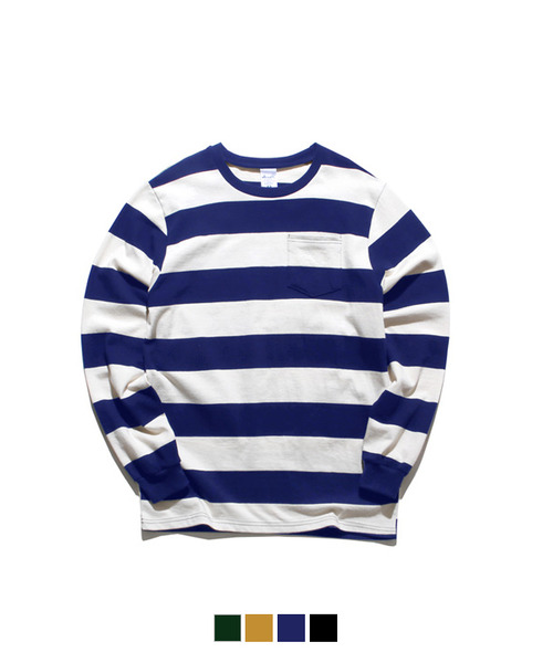 Rugby Stripe Long Sleever T-shirts Cobalt