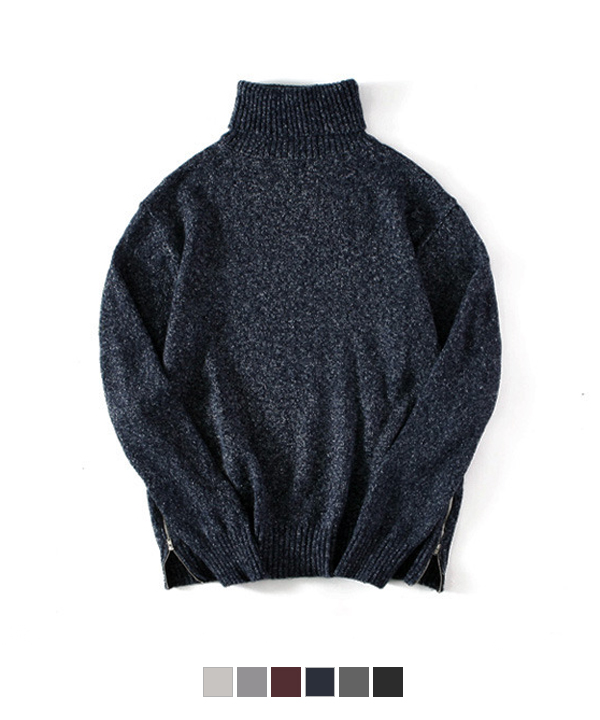 Side Zipper Turtleneck Knit #1