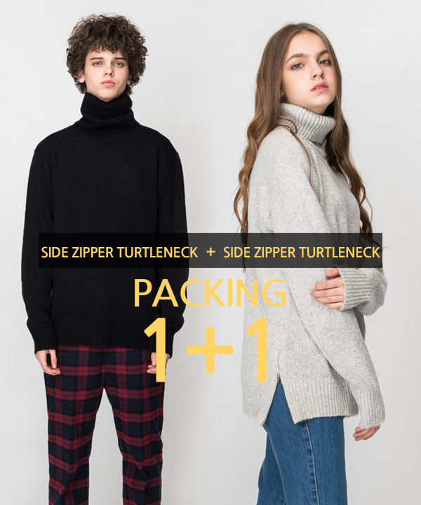 [1+1] Side Zipper Turtleneck Knit #1