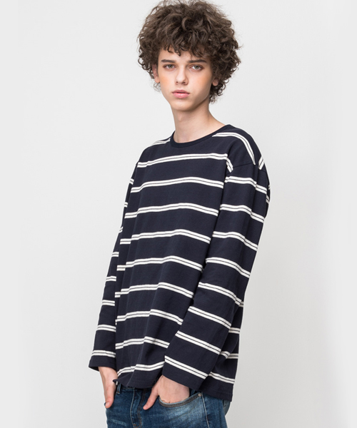 White Stripe Long Sleeve T-Shirt Navy