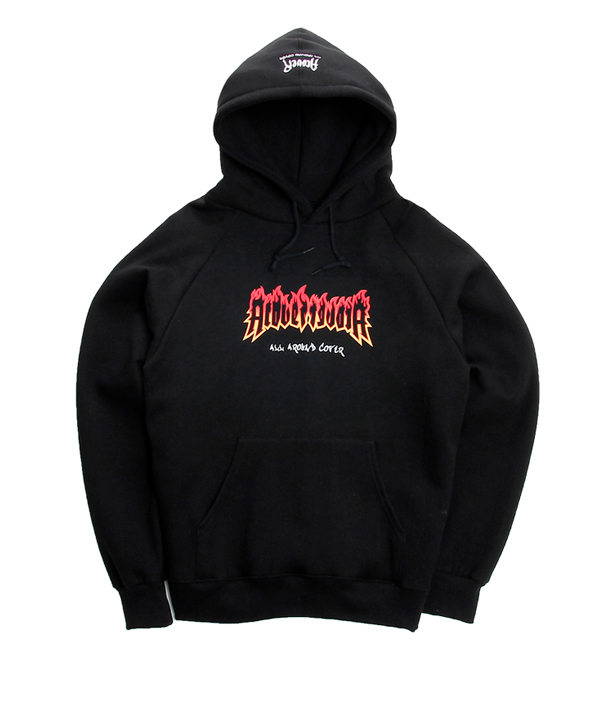 2ND BURN PRINTING OVER FIT TUMBLE HOODIE BLACK