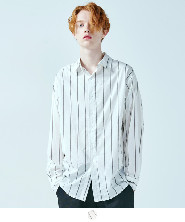 CHALK STRIPE OVER FIT SHIRTS