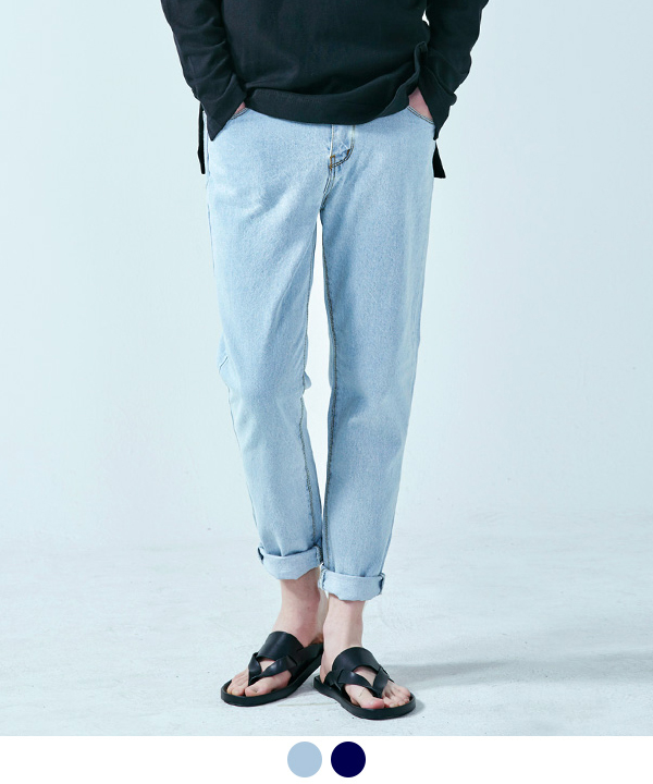 Tapered Denim Pants Light Blue