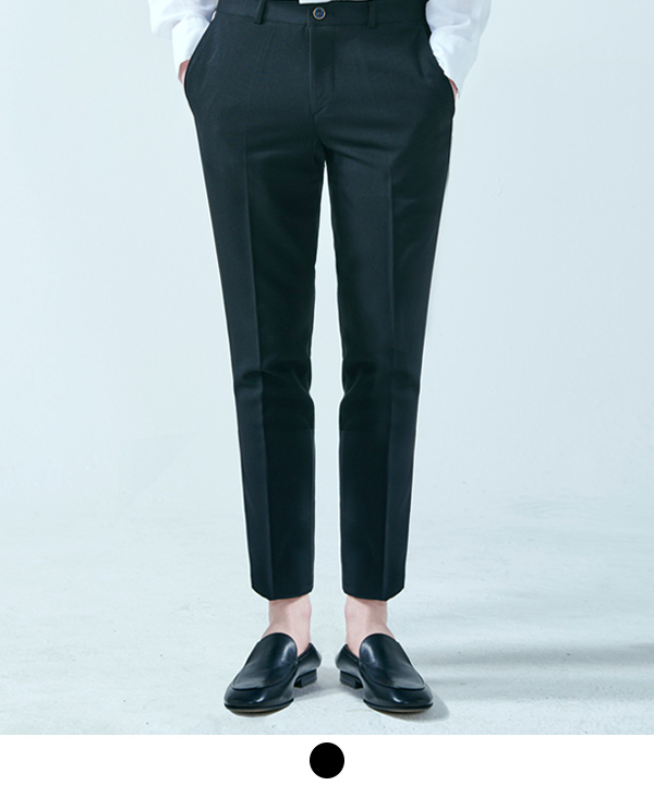 9부 Standard Fit Ankle Slacks Black