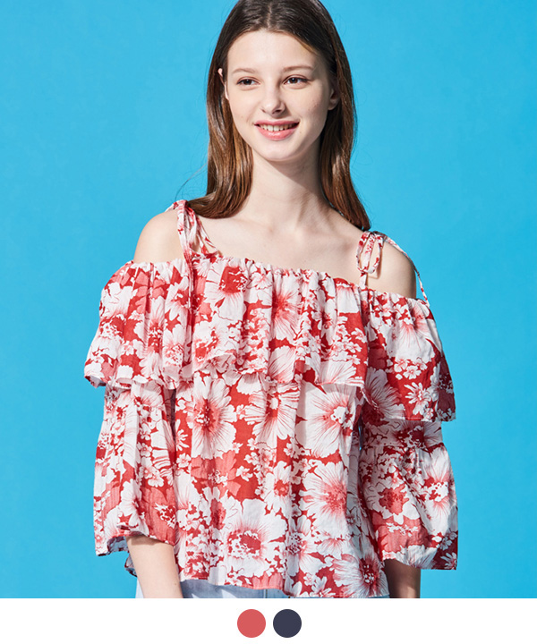 HIBISCUS HAWAIIAN OFF-SHOULDER BLOUSE