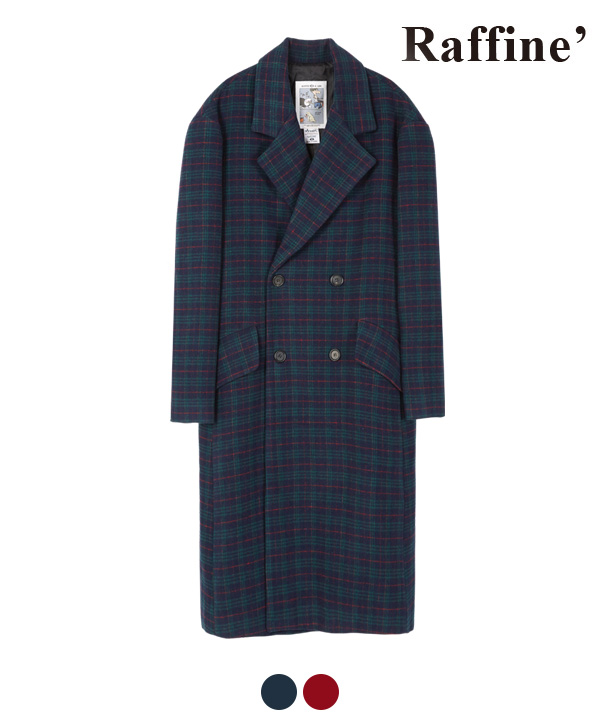 ARRANGEMENT CHECK DOUBLE COAT NAVY