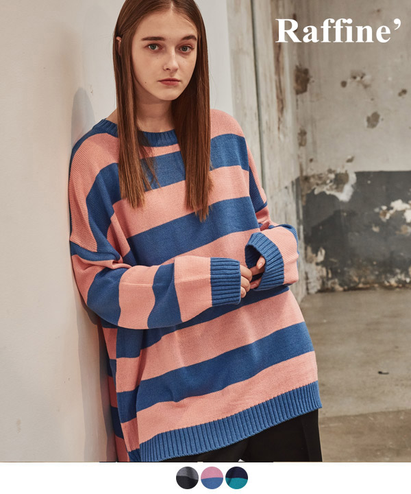 OVER STRIPE CREWNECK SWEATER