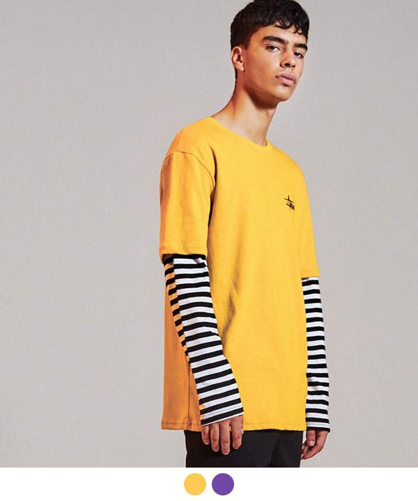 [3월21일 예약발송]HIDE STRIPE LAYERED T-SHIRTS